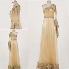Gold One Shoulder Indian Pakistani Bollywood by TresBonBoutique, $199.99