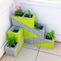 revamped garden geometric neons paint concrete blocks diy
