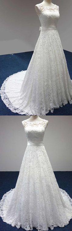 Bateau A-Line Lace Sash Bowknot Sleeveless Wedding Dress WD158 #wedding #lace #fashion #pgmdress #dress