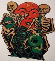 Old Vintage Halloween Cardboard Diecut Die Cut Beistle Skeletons Moon Halloween Magic, Halloween Owl, Halloween Cartoons, Retro Halloween, Halloween Painting, Halloween Drawings, Halloween Photos, Halloween Fashion, Holidays Halloween