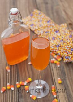 sparkling candy corn vodka cocktail - done