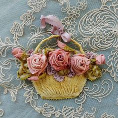 Antique French Silk Ribbons Ribbonwork Piece | eBay