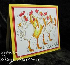 Art Impressions: Ai Bird Brains ... Rhode Island Rockettes (Sku#U1832) Handmade chicken dance card.