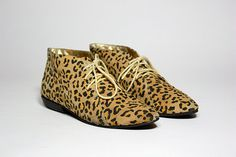 VTG 90's Leopard Print Suede Oxford Lace Up Ankle Boot