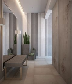 The harmony in this room is based around the similarly colored tiles on the floor to the wood walls. Home Entrance Decor, House Entrance, Home Decor, Interior Design Living Room, Living Room Designs, Flur Design, Corridor Design, Hallway Designs, Lobby Design