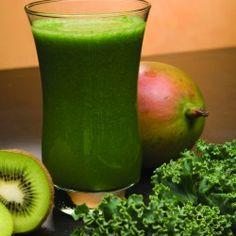 Mango Kiwi and Kale juice:  3 small kale leaves, 1 mango (or 3/4 cup frozen organic mango), 2 kiwi peeled, Blend in NutriBullet or Vitamix