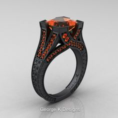 Divine Liturgy Collection - Modern Vintage 14K Matte Black Gold 3.0 Ct Princess Orange Sapphire Engraved Engagement Ring R367P-14KMBGOS by George K Designs