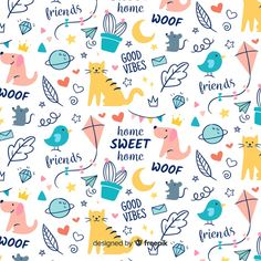 Colorful doodle animals and words pattern Free Vector Word Patterns, Textures Patterns, Geometric Background, Background Patterns, Background Designs, Valentine Background, Memphis Pattern, Vintage Typography, Vintage Logos