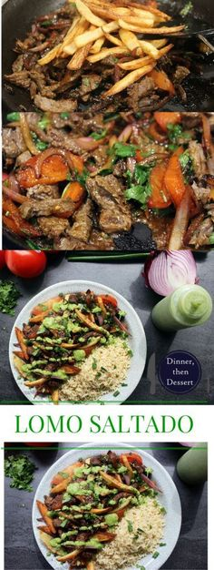Lomo Saltado with Cilantro Aji Sauce - Peruvian steak and fries with red onions and tomatoes, topped with spicy cilantro sauce and served with brown rice : dinnerthendessert Peruvian Dishes, Peruvian Cuisine, Peruvian Recipes, Peruvian Desserts, Lomo Saltado, Meat Recipes, Mexican Food Recipes, Cooking Recipes, Ethnic Recipes