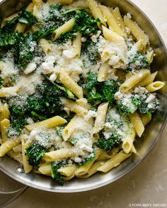 30 Minute Kale, Spinach and Goat Cheese Pasta | Fork Knife Swoon #recipe, #cooking, #vegetarian