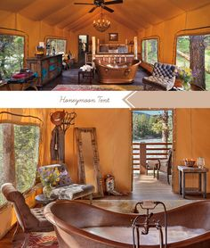 """My kind of honeymoon - """"glamping"""" I've never been glamping before but I think it just sounds like going to a cabin"""