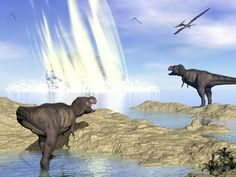 An artist's rendering of Chicxulub, the asteroid believed to have wiped out large dinosaurs and reshaped parts of the world.   The Chicxulub impact released as much energy as a hundred terratons of TNT, beyond a billion times the power of the atomic bomb dropped on Hiroshima.