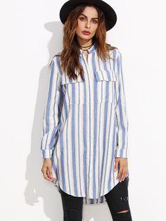 #AdoreWe #SheIn Blouses - SheIn Blue Vertical Striped Hidden Button Equipment Blouse - AdoreWe.com