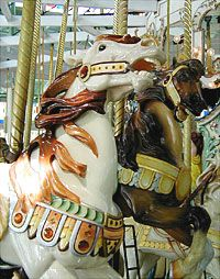 Horses on the Crescent Park Carousel, Riverside, RI. this is a Looft Carousel, designed by Charles Looft.