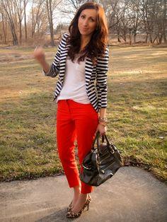striped blazer white top, red pants