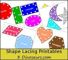 3 Dinosaurs - Shape Lacing Printable