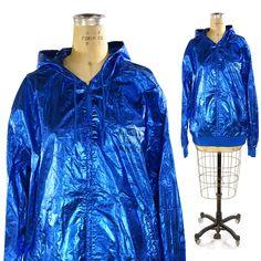 Adidas Jacket in Metallic Electric Blue / Vintage 1990s Adidas Zip Up Windbreaker Hoodie (108.00 USD) by SpunkVintage