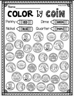 Money Worksheets and Money Games and Activities HUGE Unit Awesome identifying coins (pennies, nickels, dimes, quarters) worksheets centers and money activities that are all differentiated Homeschool Kindergarten, Preschool Learning, Elementary Math, Teaching Math, Kindergarten Preparation, Homeschooling, Learning Activities, Preschool Homework, Summer School Activities