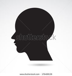 Head icon isolated on white background. - stock photo