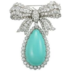 Brooches Jewels : A David Webb Turquoise and Diamond Brooch. Bow Jewelry, Ruby Jewelry, Turquoise Jewelry, Gemstone Jewelry, Jewelry Ideas, David Webb, Diamond Brooch, Ribbon Bows, Ribbons