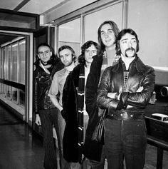 27th February 1974: British rock group Genesis, (from left) Peter Gabriel, Phil Collins, Tony Banks,