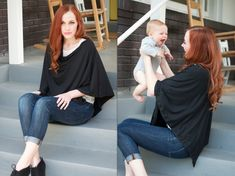 Easy DIY Nursing Shawl (sew one line!)...to keep not just your front but your *back* covered! Fab idea!