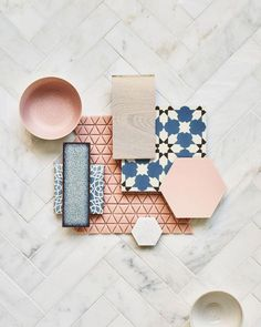 This achingly pretty flat-lay encompasses some of our loveliest tiles including porcelain Hayek Hex and gorgeous glazed terracotta. Sitting alongside are Old Havana cement, Habitation wood flooring and recycled glass mosaic, all on a backdrop of chic East Haven Marble. #woodflooringideasbathroom