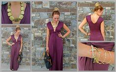 Burgundy goddess dress at Apricot Lane Billings