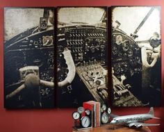 'Takeoff' Large Aviation Triptych is like looking at a vintage cockpit on your wall.  It definitely makes gorgeous aviation decor.