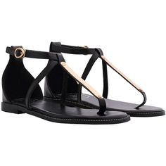 SheIn(sheinside) Black Buckle Strap Metal Embellished Sandals found on Polyvore featuring shoes, sandals, flats, black, sapatos, flat heel shoes, almond toe shoes, flat shoes, embellished flats and black flat shoes