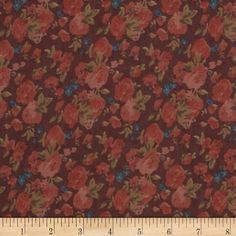 Maribel Voile Floral Burgundy/Coral/Teal from fabric.com