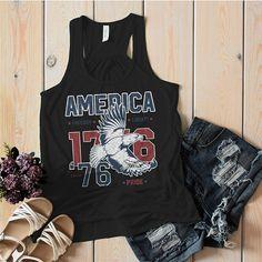 8ed15035ec789 Women s America Flowy Tank Patriotic Vintage 1776 Eagle Pride Freedom  Liberty 4th July Tanks Racerback