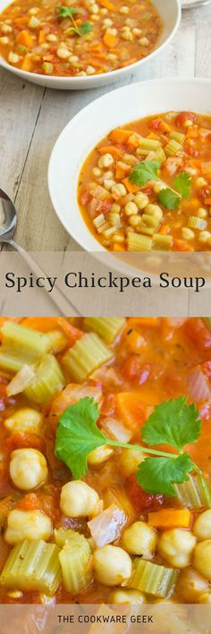 A soup doesn't have to be dull and just for when you are feeling sick. This spicy chickpea soup is sassy and there is nothing boring about it. #food #soup