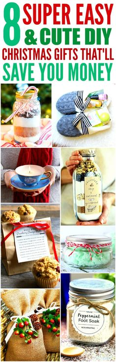 These 8 easy and cute DIY Christmas gifts are THE BEST! I'm so glad I found these AMAZING ideas! Now I have cool gift projects for friends and family! Definitely pinning!