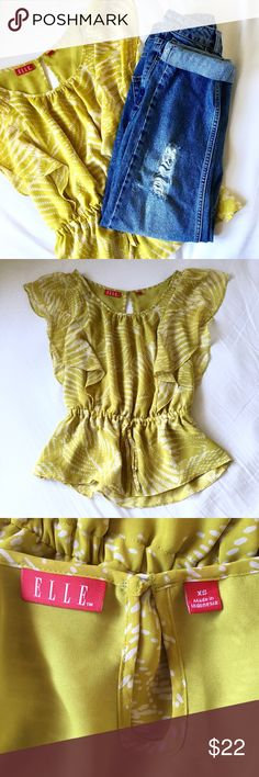 ✨ Elle Mustard Faded Yellow Peplum Cinched Blouse Adorable top! Loose flowy short sleeves. Color is most like the third photo. The jeans are TopShop Moto Mom Jeans. I'm customizing them because they need a repair and then they'll be in my Posh closet. Likely not anytime soon though because I'm slammed with work! Elle Tops Blouses