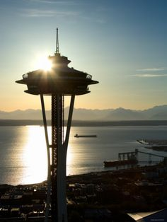 Silhouette of Space Needle Building in Seattle, Washington at Sunset Photographic Print at Art.com