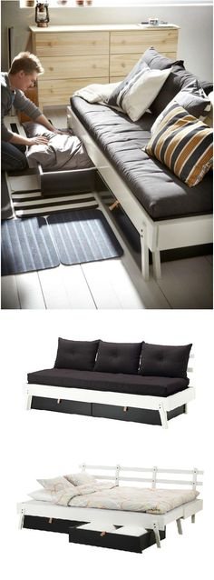 The IKEA PS 2012 daybed gives you four functions in one - seating, bed for one, bed for two and two big drawers for storage.