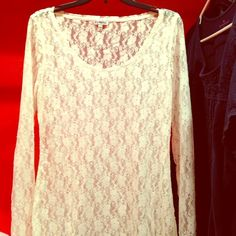 Summer Sale! Express White Lace Top Beautiful and flawless white lace top from Express and in excellent condition! Wear over a  tank for a classic and beautiful look. Bundle and Save! Express Tops Blouses