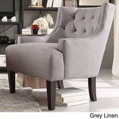 Tess Wingback Tufted Linen Upholstered Club Chair by TRIBECCA HOME