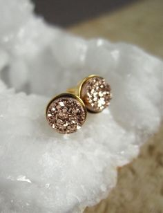 NEW Tiny Rose Gold Druzy Earrings Titanium Drusy by julianneblumlo, $60.00