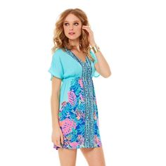"""NWT Lilly Pulitzer Meg Dress Shorely Blue New with tags Lilly Pulitzer Meg tunic dress in Shorely Blue Islamorado Fluorescent. Small. Elastic waist, pull over styling 34"""" total length. No trades, offers welcome. Lilly Pulitzer Dresses Mini"""