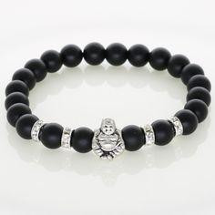 Silver Laughing Buddha Lucky Charm Bracelets Onyx Agate Stone Matt Beads For Men Bracelets Jewelry Women Fashion Accessories