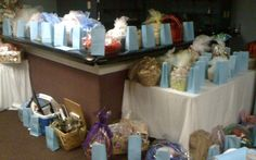 Baskets and gift prizes at a Beach Themed Bridal Shower. Everyone received a gift this day.  Pittsburgh Bride Talk Wedding Forum