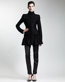 Alexander McQueen Drop-Waist Wool Coat, Silk Ruffled Blouse & Leather Zip-Pocket Pants- love the coat sans the leather pants!