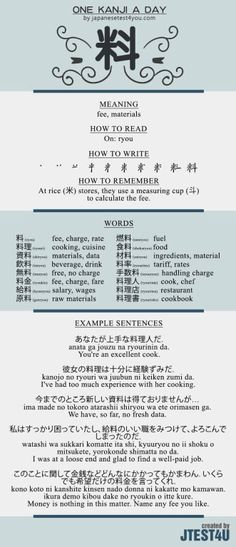 Learn one Kanji a day with infographic: 料 (ryou)