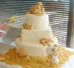 Bolo decorativo para casamento na praia <3