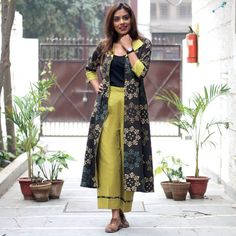 Front Open Brown Ajrakh Top with Olive Green Pants & Pockets - Rustorange Western Outfits, Indian Outfits, Fashion Wear, Fashion Dresses, Stylish Dresses, Long Dresses, Pretty Dresses, Long Shrug, Baroque Dress