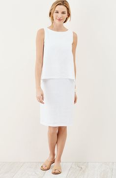 Pure Jill tiered linen dress   J.Jill