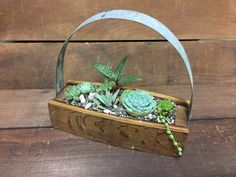 Planter Box Made From Recycled Wine Barrel Planted With Succulents by PurpleThumbNotions on Etsy