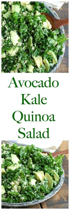 Avocado Kale Quinoa Salad mixes kale, creamy avoid, quinoa and is tossed in a light lemon dressing. This salad is light, healthy and perfect for lunches or a side to your dinner. You can add grilled chicken, salmon or a handful of beans to add protein!